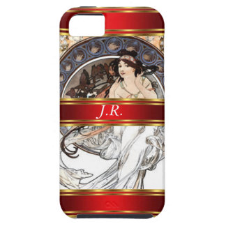 Alphonse Mucha and Red Add your initials iPhone SE/5/5s Case