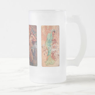 Alphonse Mucha and The four seasons Frosted Glass Beer Mug