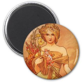 Alphonse Mucha Art Deco 2 Inch Round Magnet