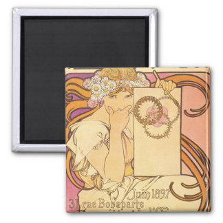 Alphonse Mucha Art Deco 2 Inch Square Magnet