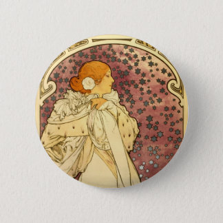 Alphonse Mucha Art Deco Button