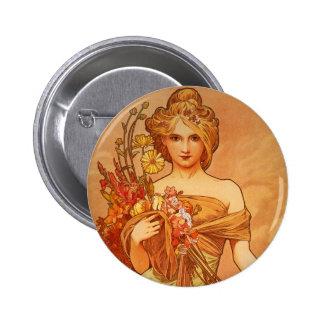 Alphonse Mucha Art Deco Pins