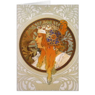 Alphonse Mucha Art Deco Card