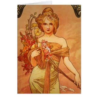 Alphonse Mucha Art Deco Greeting Card