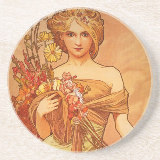 Alphonse Mucha Art Deco Beverage Coasters