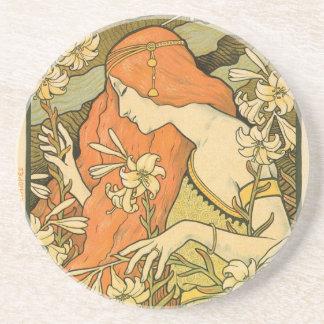 Alphonse Mucha Art Deco Drink Coaster