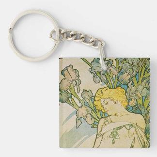 Alphonse Mucha Art Deco Keychain