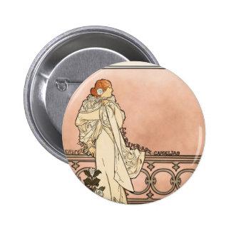 Alphonse Mucha Art Deco Pinback Button