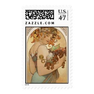 Alphonse Mucha Art Deco Postage