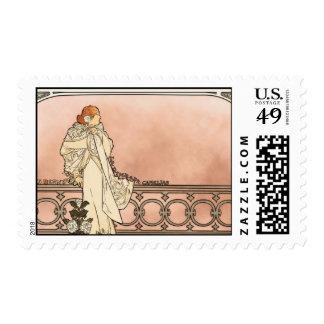 Alphonse Mucha Art Deco Postage Stamp