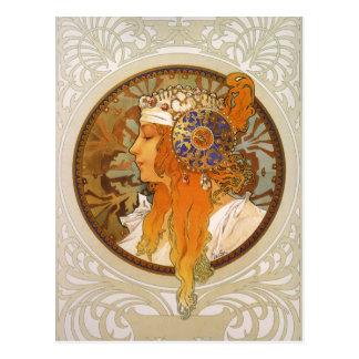 Alphonse Mucha Art Deco Post Card