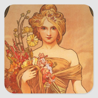Alphonse Mucha Art Deco Square Sticker