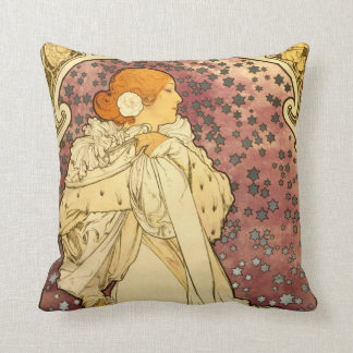 Alphonse Mucha Art Deco Throw Pillow