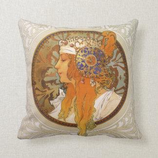 Alphonse Mucha Art Deco Throw Pillow