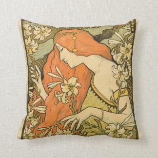 Alphonse Mucha Art Deco Throw Pillows