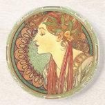Alphonse Mucha Art Nouveau Coaster