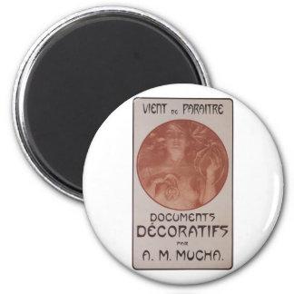 Alphonse Mucha ~ Art Nouveau ~ Documents Decoratif 2 Inch Round Magnet