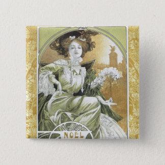 Alphonse Mucha - Art Nouveau Pinback Button