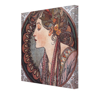 Alphonse Mucha art nouveau woman Laurel canvas
