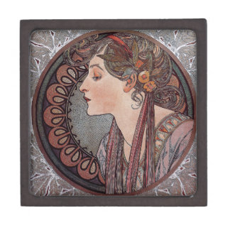 Alphonse Mucha art nouveau woman Laurel gift box