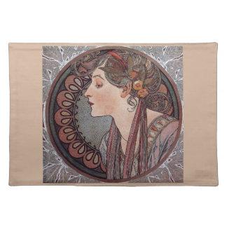 Alphonse Mucha art nouveau woman Laurel placemat