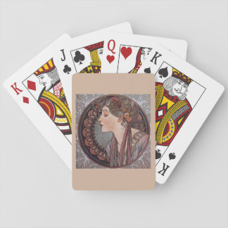 Alphonse Mucha art nouveau woman playing cards