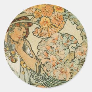 Alphonse Mucha Art Round Stickers