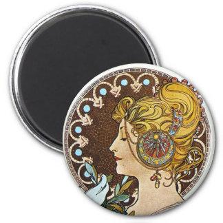 Alphonse Mucha Artwork 2 Inch Round Magnet