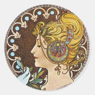 Alphonse Mucha Artwork Round Sticker