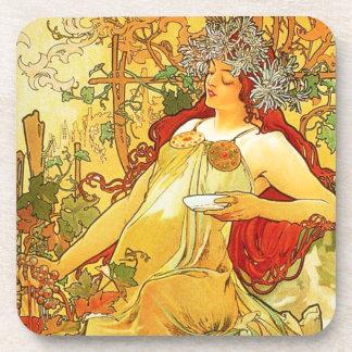 Alphonse Mucha Autumn Coasters