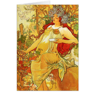 Alphonse Mucha Autumn Greeting Card