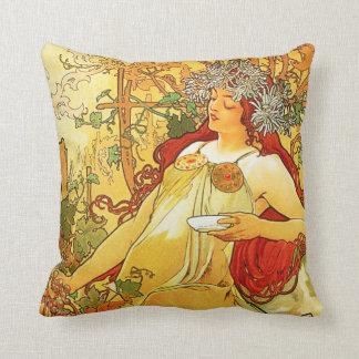 Alphonse Mucha Autumn Pillow