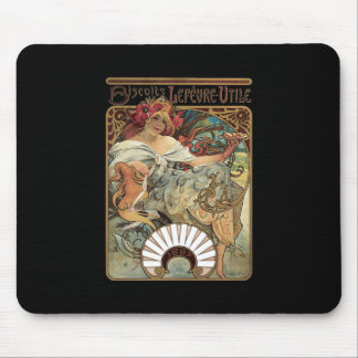 Alphonse Mucha Biscuits Lefevre Utile Mouse Pad