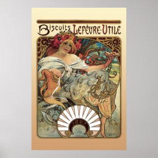 Alphonse Mucha Biscuits Lefevre Utile Print