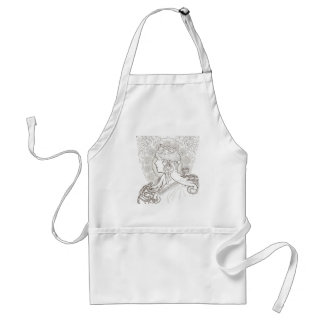 ALphonse Mucha Black and White lined drawing Adult Apron