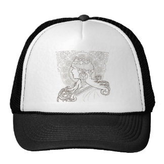 ALphonse Mucha Black and White lined drawing Trucker Hat