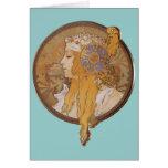Alphonse Mucha ~ Byzantine Head: The Blonde Greeting Card
