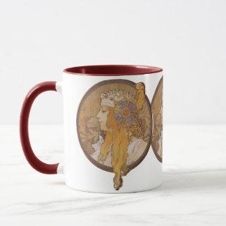 Alphonse Mucha ~ Byzantine Head: The Blonde Mug