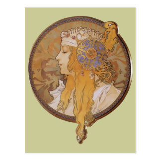 Alphonse Mucha ~ Byzantine Head: The Blonde Postcard