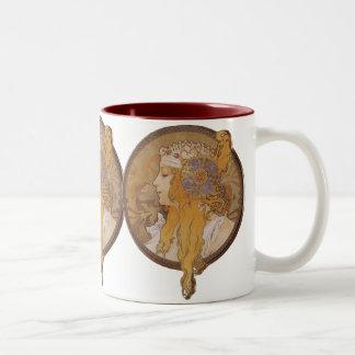 Alphonse Mucha ~ Byzantine Head: The Blonde Two-Tone Coffee Mug