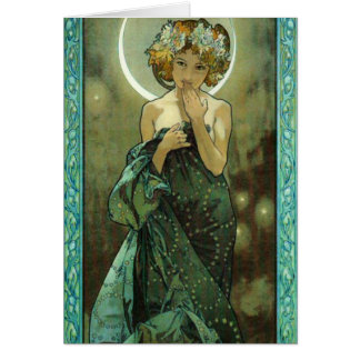 Alphonse Mucha Clair De Lune Greeting Card