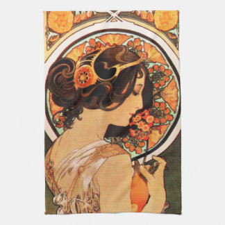 Alphonse Mucha Cow Slip Kitchen Towel