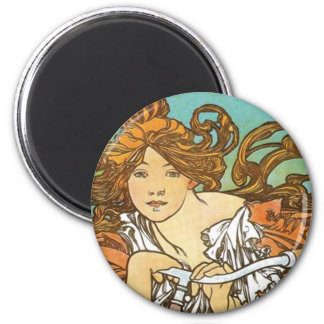 Alphonse Mucha - Cycles Perfecta 2 Inch Round Magnet