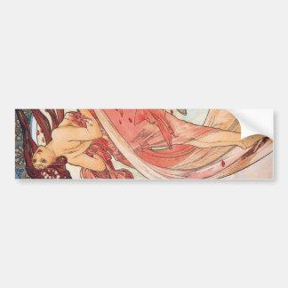 """Alphonse Mucha, """"Dance"""" Bumper Sticker"""