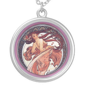 Alphonse Mucha - Dance Silver Plated Necklace
