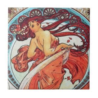 Alphonse Mucha Dance Vintage Art Nouveau Painting Ceramic Tile