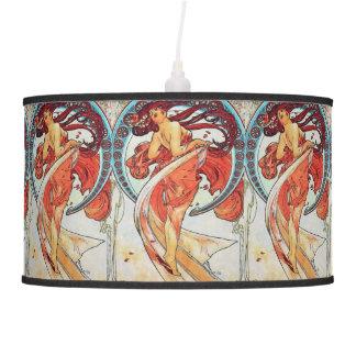 Alphonse Mucha Dance Vintage Art Nouveau Painting Hanging Lamp