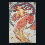 "Alphonse Mucha Dance Vintage Art Nouveau Painting Kitchen Towel<br><div class=""desc"">Alphonse Mucha Dance Vintage Art Nouveau Watercolor Painting A beautiful Art Nouveau Lady. Alfons Mucha, often known in English and French as Alphonse Mucha, was a Czech Art Nouveau painter and decorative artist, known best for his distinct style. He produced many paintings, illustrations, advertisements, postcards, and designs. Dance, an allegorical...</div>"
