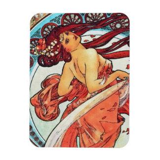 Alphonse Mucha Dance Vintage Art Nouveau Painting Magnet