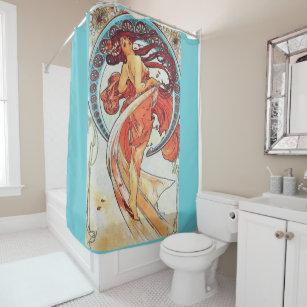 Alphonse Mucha Dance Vintage Art Nouveau Painting Shower Curtain